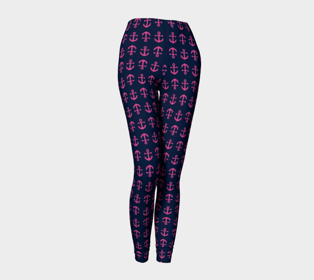 Anchor Toss Adult Leggings - Pink on Navy - SummerTies