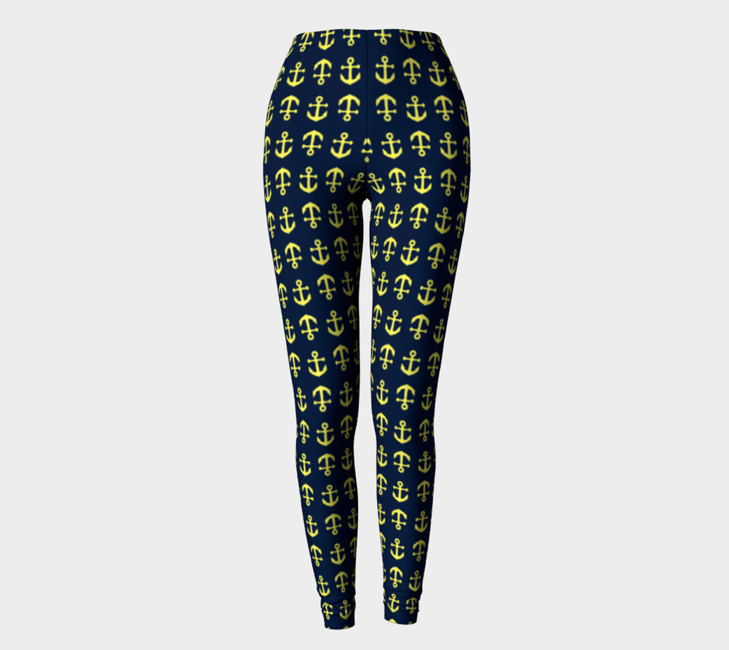 Anchor Toss Adult Leggings - Yellow on Navy - SummerTies