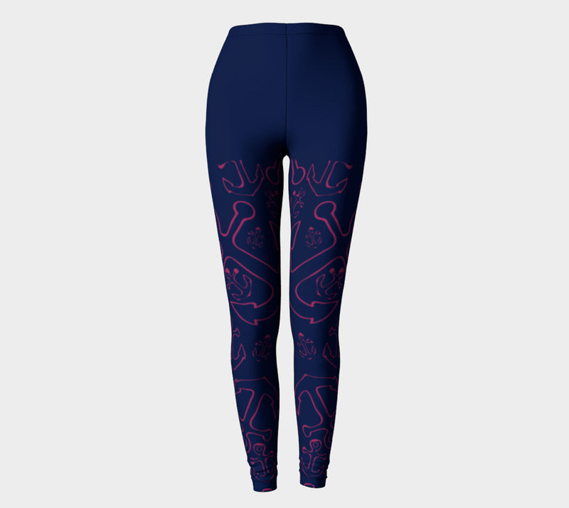 Anchor Dream Adult Leggings - Legs Only, Pink on Navy - SummerTies