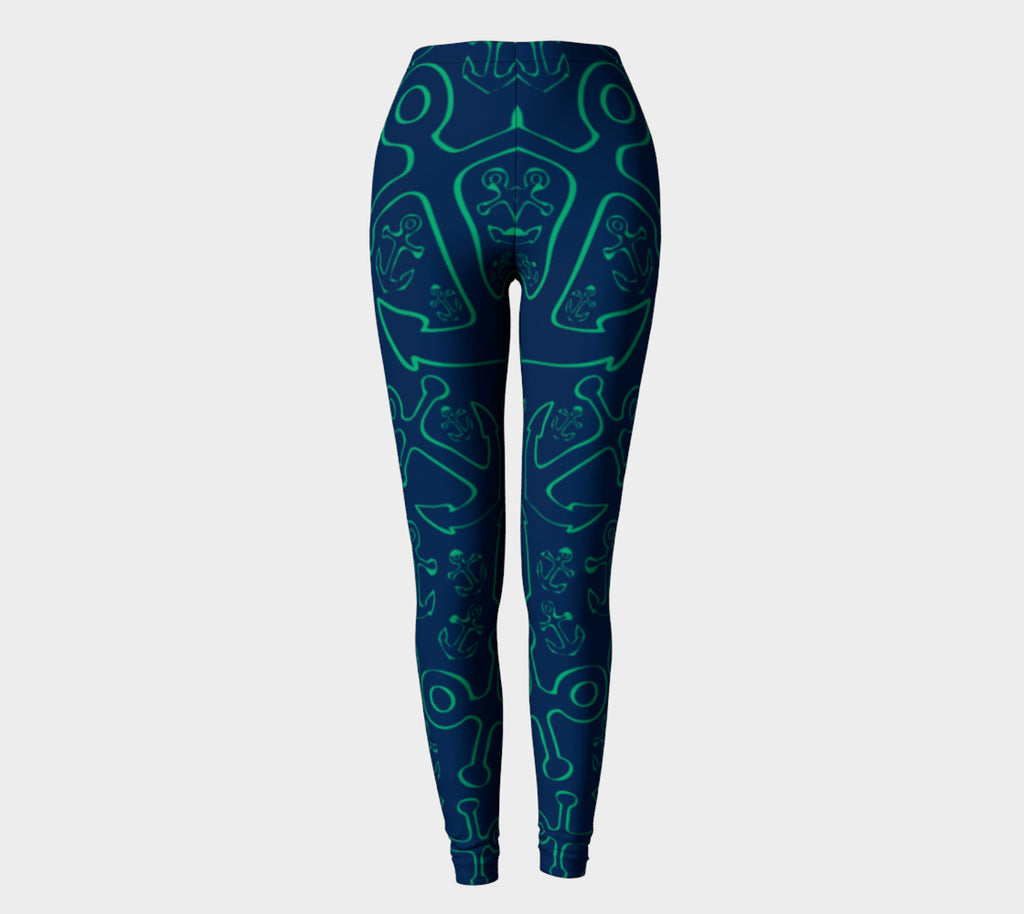 Anchor Dream Adult Leggings - Green on Navy - SummerTies