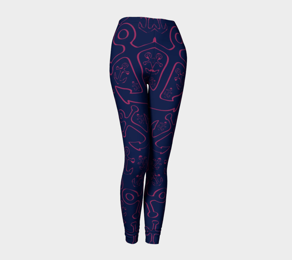 Anchor Dream Adult Leggings - Pink on Navy - SummerTies