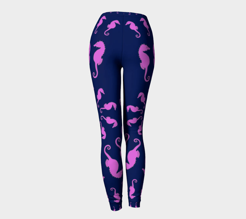 Seahorse Adult Leggings - Pink on Navy