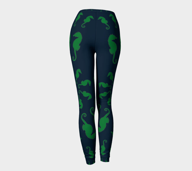 Seahorse Adult Leggings - Green on Navy - SummerTies