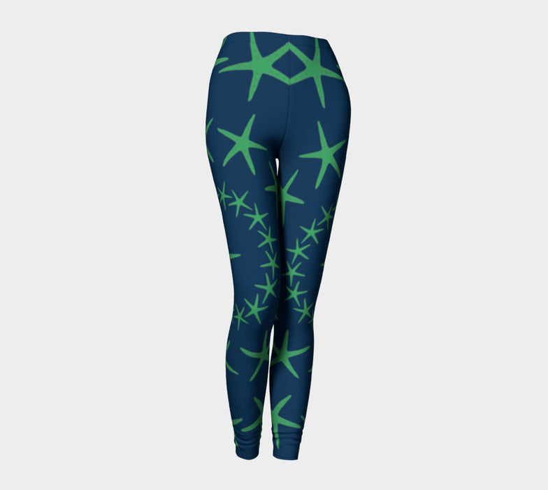 Starfish Adult Leggings - Green on Navy