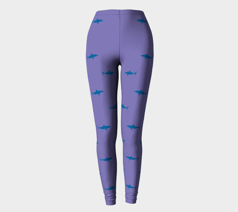 Shark Adult Leggings - Blue on Purple - SummerTies