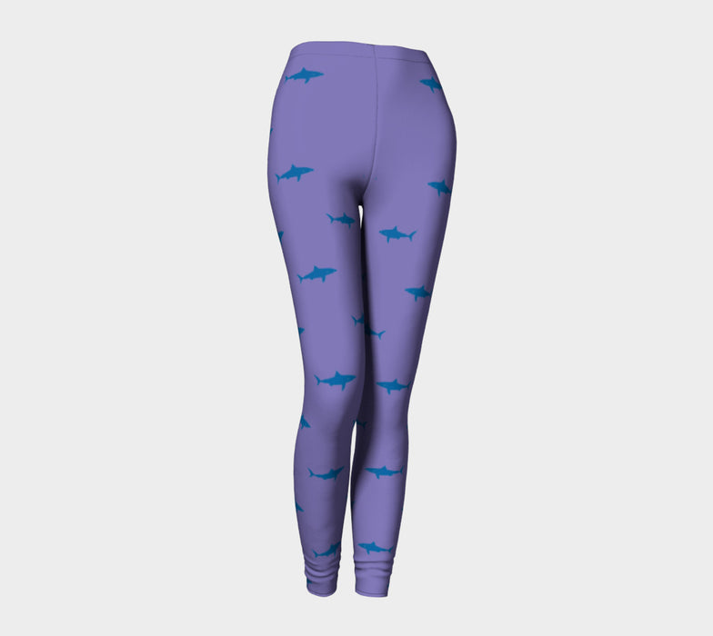 Shark Adult Leggings - Blue on Purple