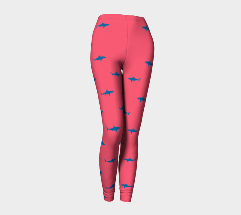 Shark Adult Leggings - Blue on Coral - SummerTies