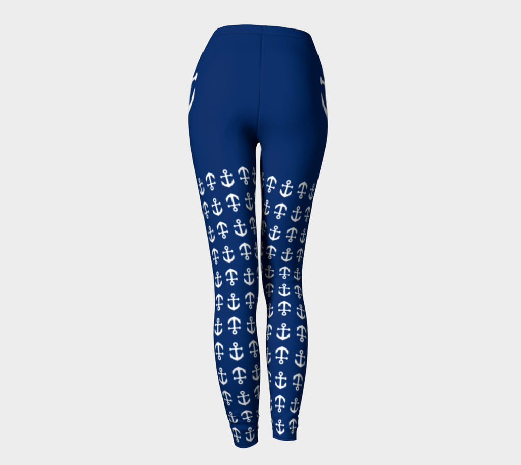 Anchor Legs and Hip Adult Leggings - White on Navy - SummerTies