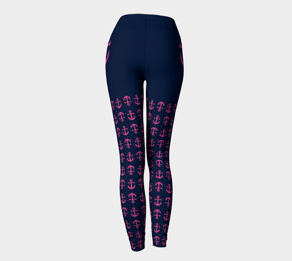 Anchor Legs and Hip Adult Leggings - Pink on Navy - SummerTies