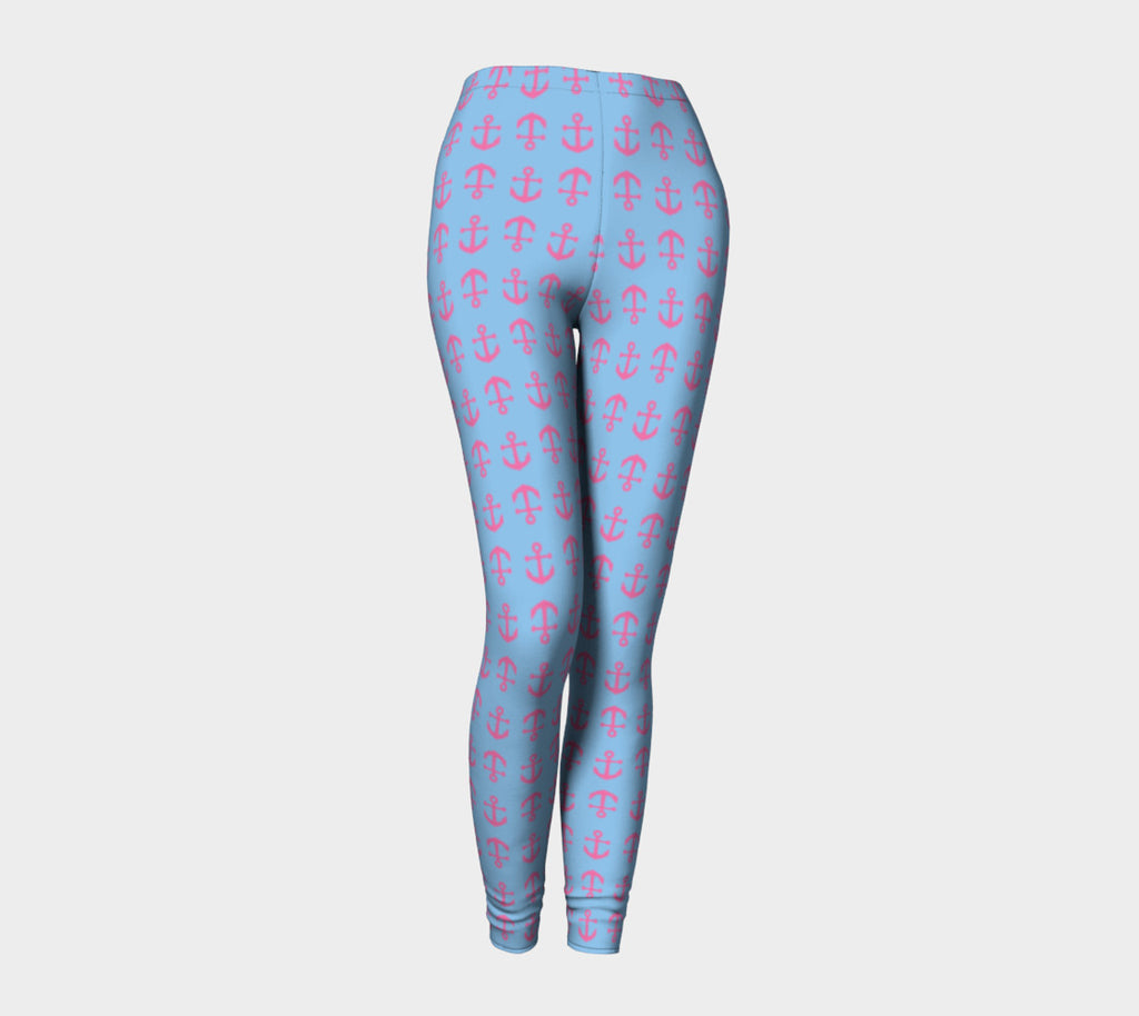 Anchor Toss Adult Leggings - Pink on Light Blue - SummerTies