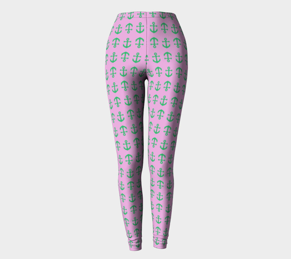 Anchor Toss Adult Leggings - Green on Light Pink - SummerTies