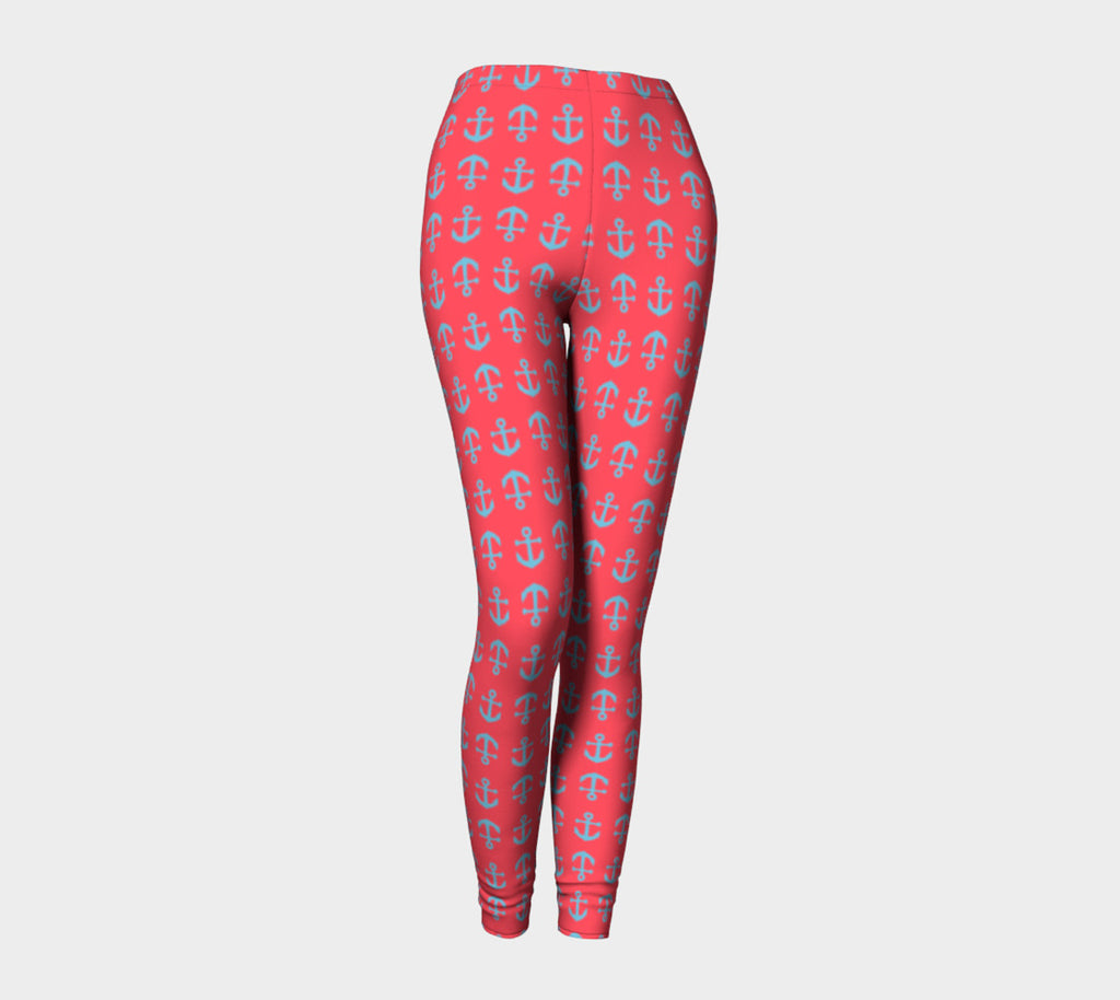 Anchor Toss Adult Leggings - Light Blue on Darker Coral - SummerTies