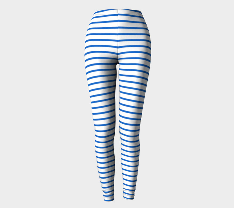 Striped Adult Leggings - Blue on White - SummerTies