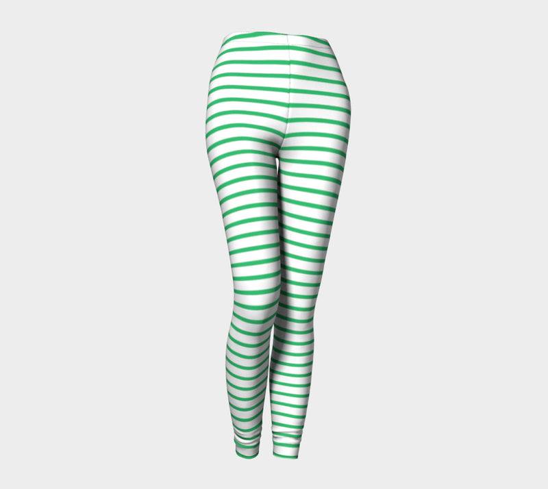 Striped Adult Leggings - Green on White - SummerTies