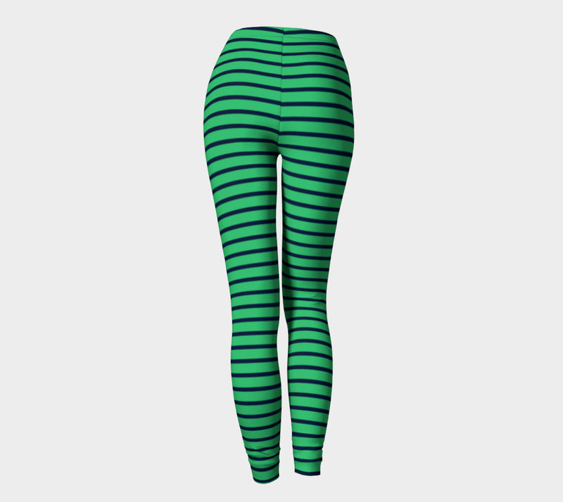 Striped Adult Leggings - Navy on Green - SummerTies