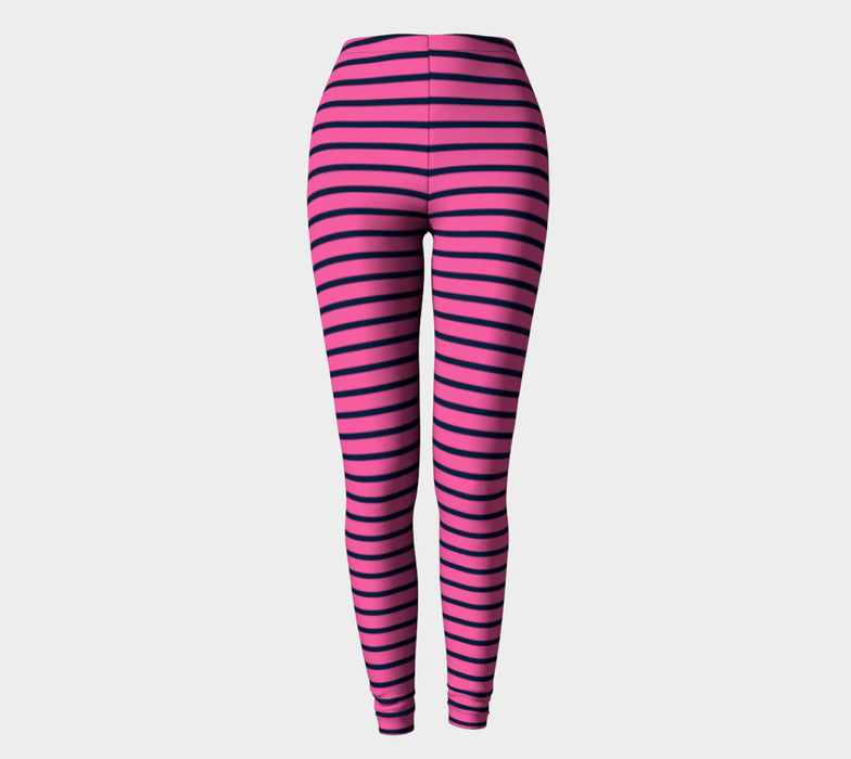 Striped Adult Leggings - Navy on Pink