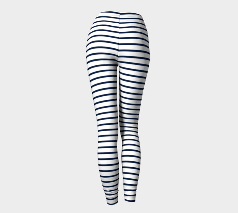 Striped Adult Leggings - Navy on White - SummerTies