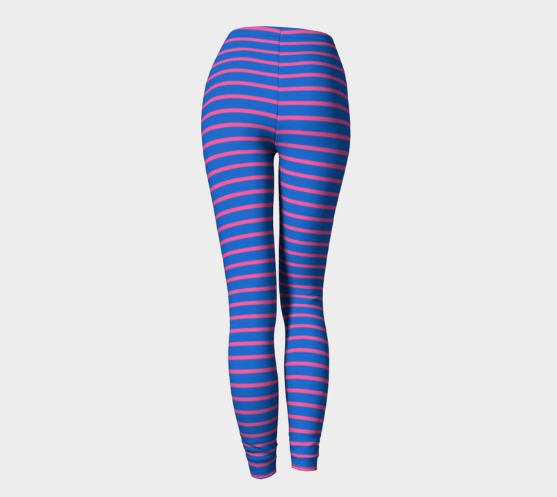 Striped Adult Leggings - Pink on Blue - SummerTies