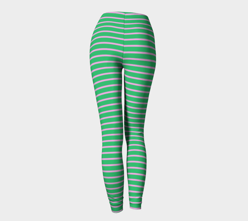 Striped Adult Leggings - Light Pink on Green - SummerTies