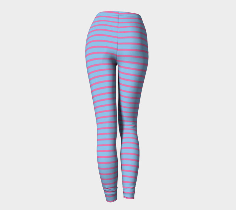 Striped Adult Leggings - Pink on Light Blue - SummerTies