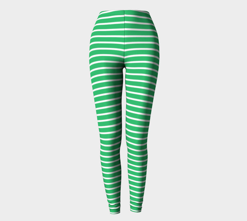 Striped Adult Leggings - White on Green - SummerTies