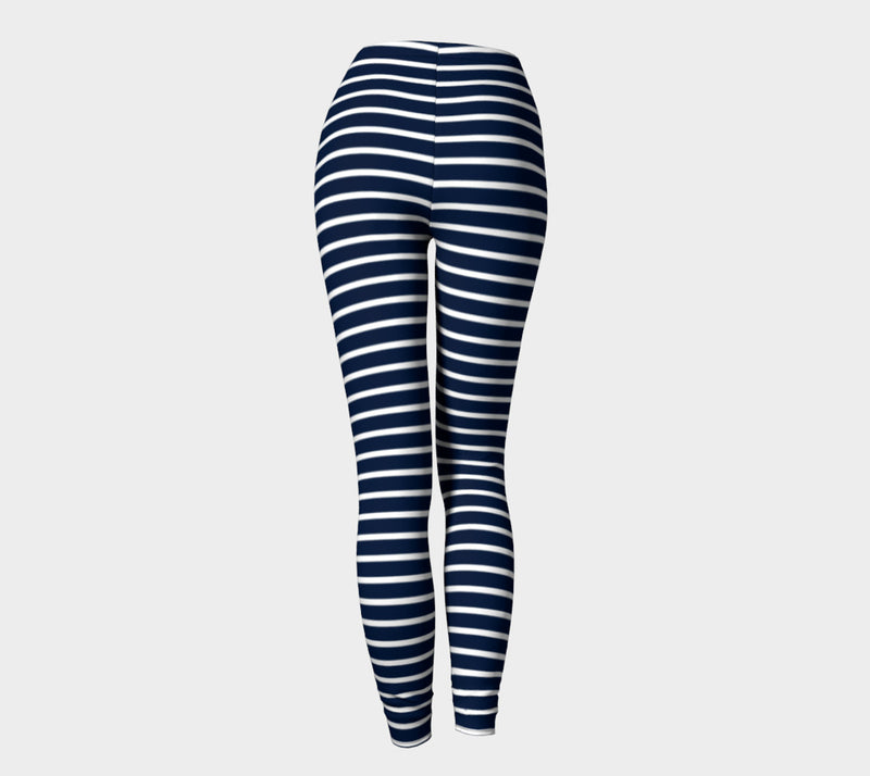 Striped Adult Leggings - White on Navy - SummerTies