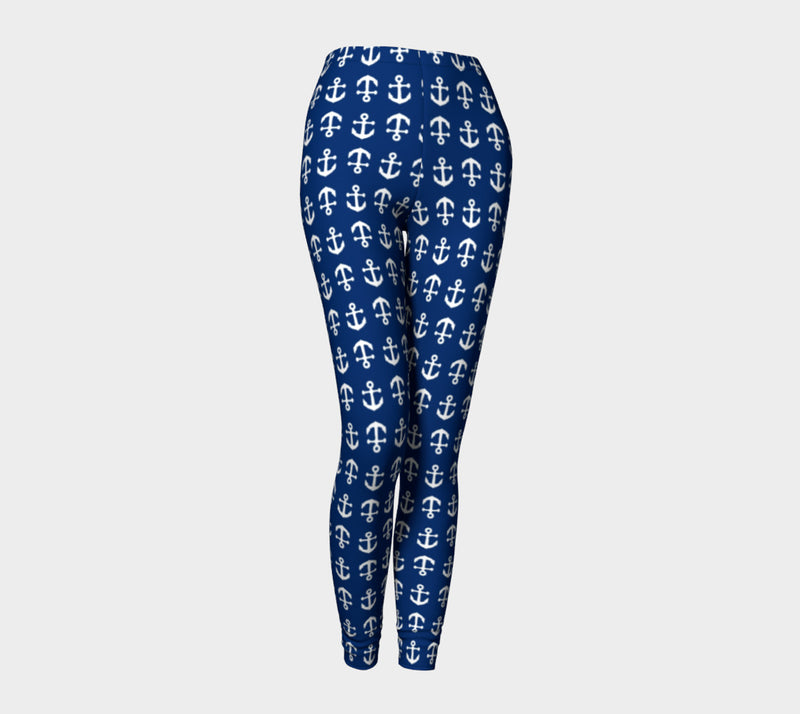 Anchor Toss Adult Leggings - Navy - SummerTies