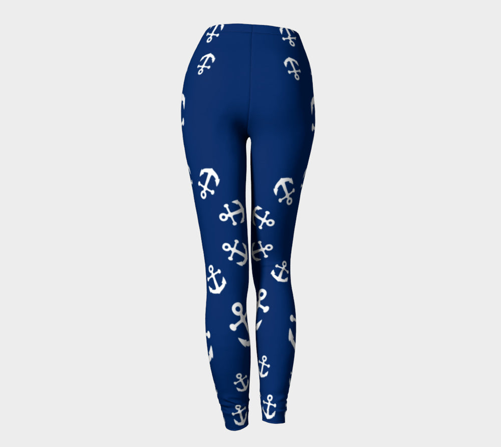 Anchor Pinwheel Adult Leggings - Navy - SummerTies