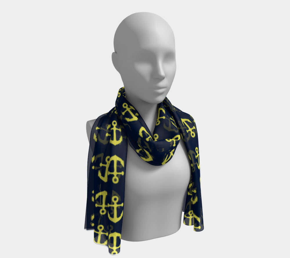 Anchor Toss Long Scarf - Yellow on Navy - SummerTies