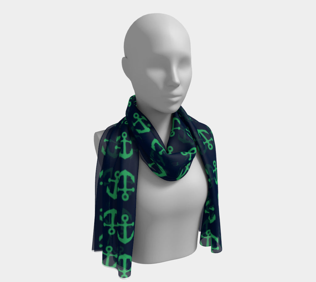 Anchor Toss Long Scarf - Green on Navy - SummerTies