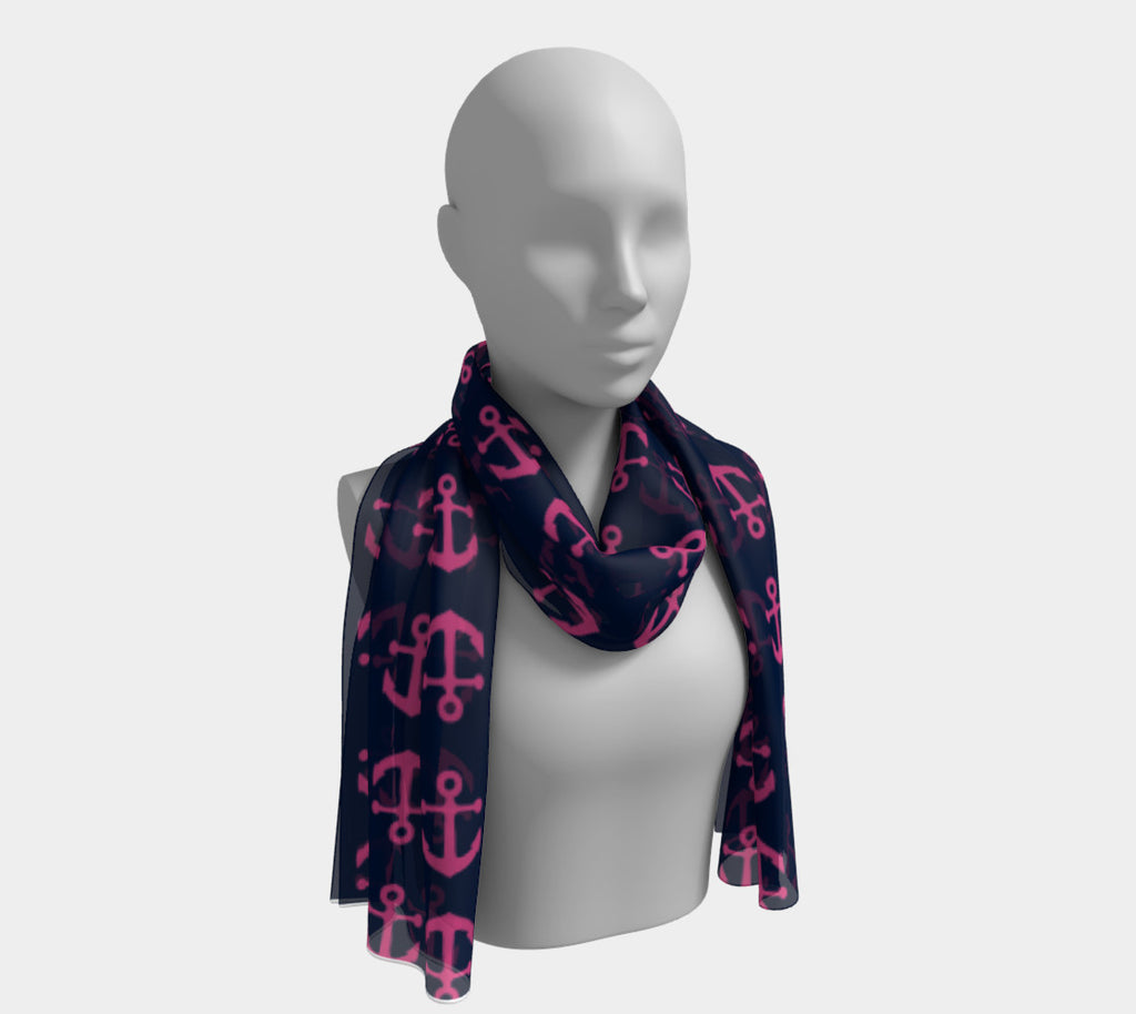 Anchor Toss Long Scarf - Pink on Navy - SummerTies