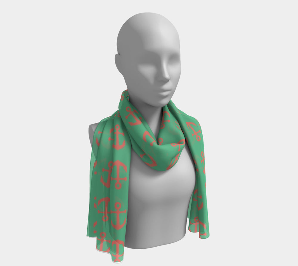 Anchor Toss Long Scarf - Coral on Green - SummerTies