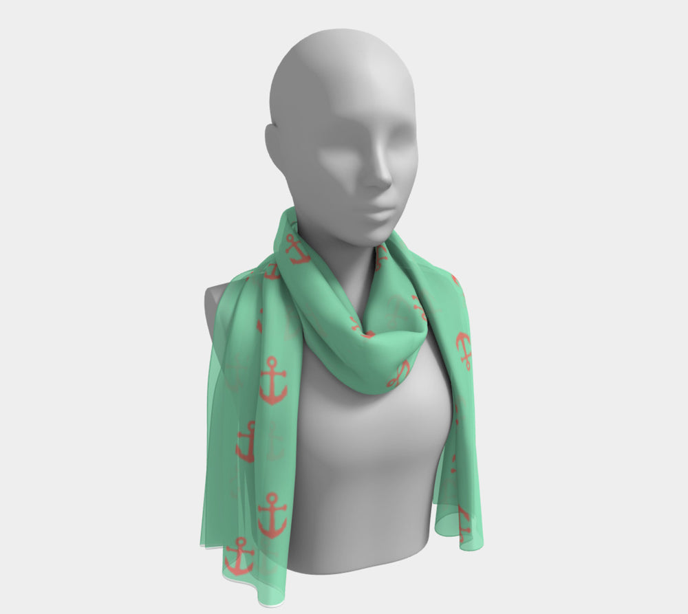 Anchor Spread Long Scarf - Coral on Light Green - SummerTies