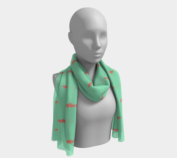 Trout Long Scarf - Spread Coral on Light Green