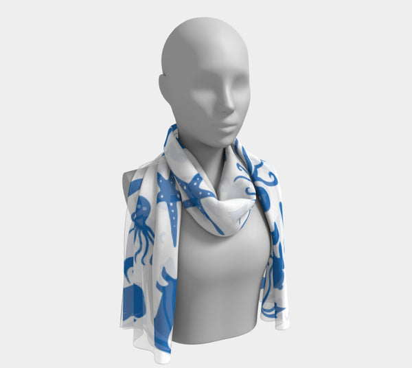 Multi Creature Long Scarf - Blue on White