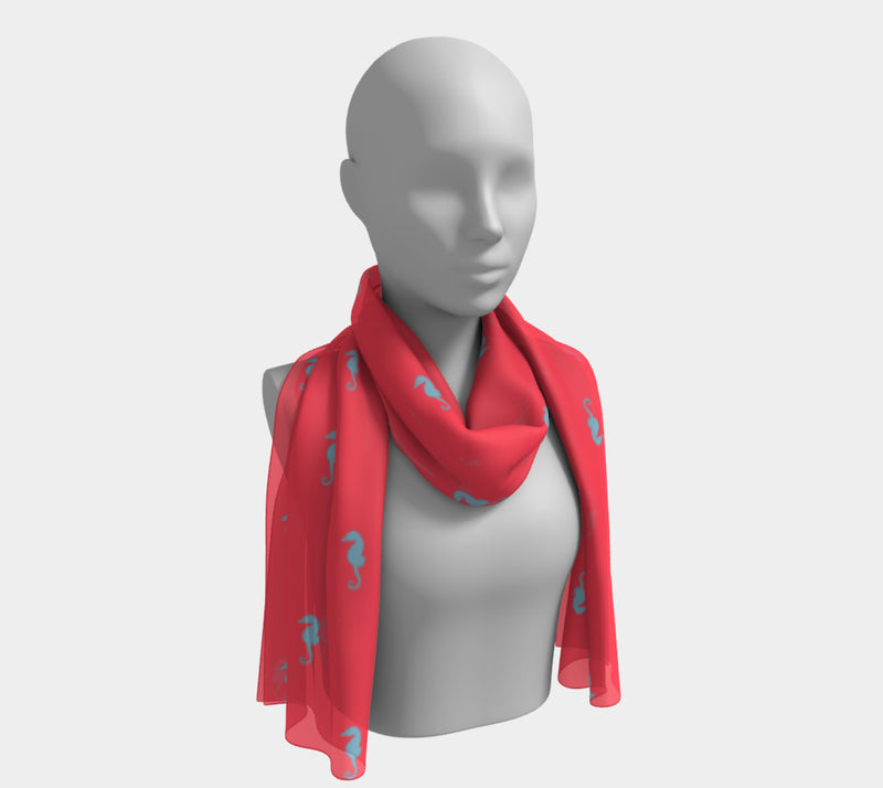 Seahorse Long Scarf - Light Blue on Coral - SummerTies