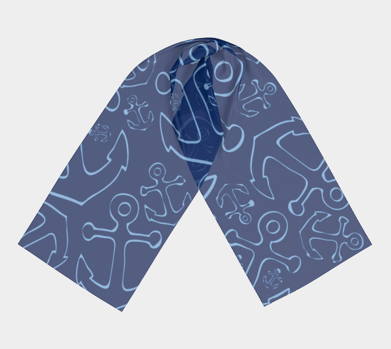 Anchor Dream Long Scarf - Blue on Navy - SummerTies