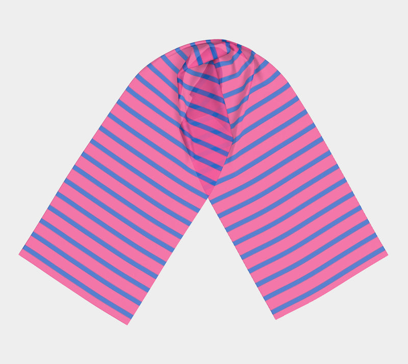 Striped Long Scarf - Blue on Pink