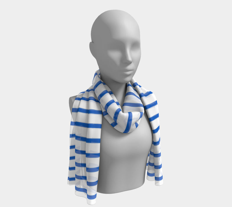 Striped Long Scarf - Blue on White - SummerTies