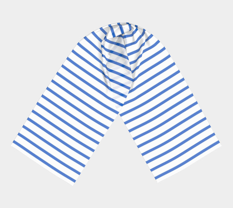 Striped Long Scarf - Blue on White