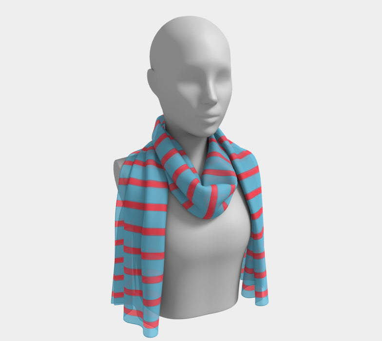 Striped Long Scarf - Darker Coral on Light Blue