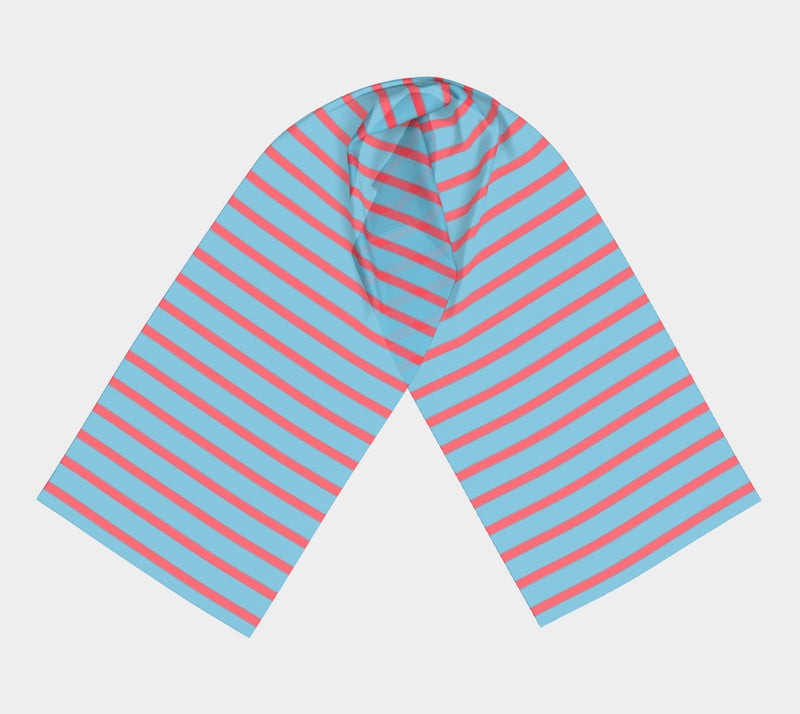 Striped Long Scarf - Darker Coral on Light Blue - SummerTies