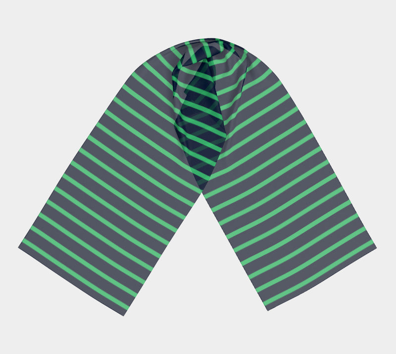 Striped Long Scarf - Green on Navy - SummerTies