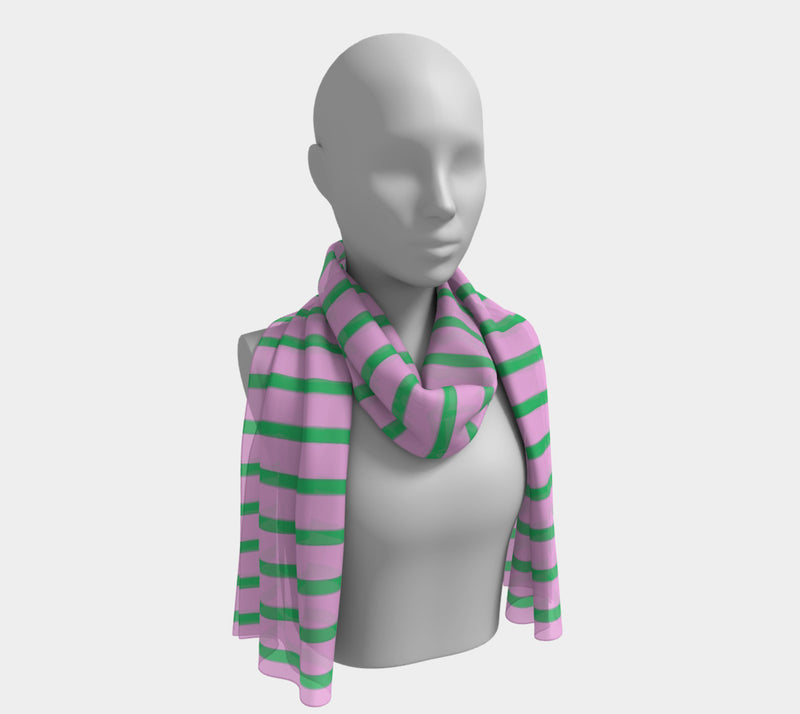 Striped Long Scarf - Green on Pink - SummerTies