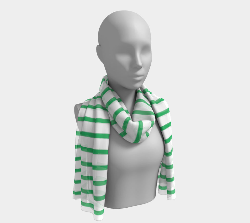 Striped Long Scarf - Green on White