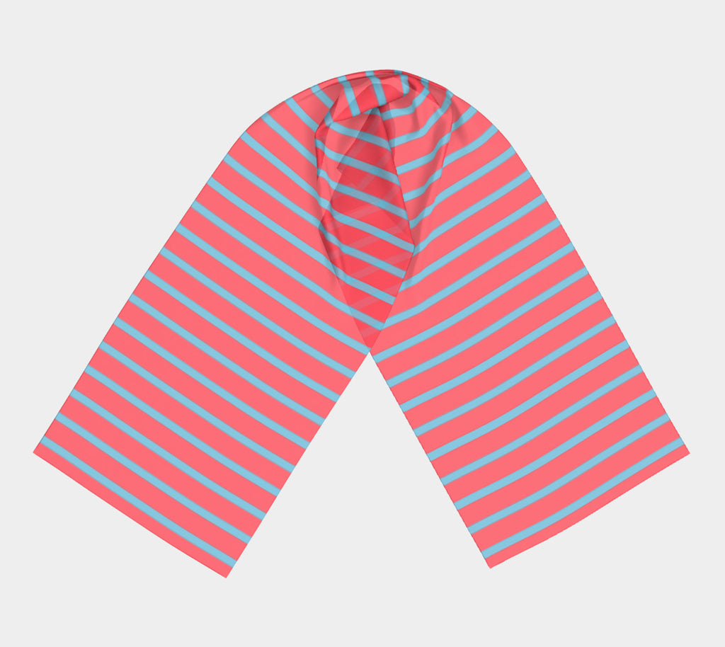 Striped Long Scarf - Light Blue on Darker Coral