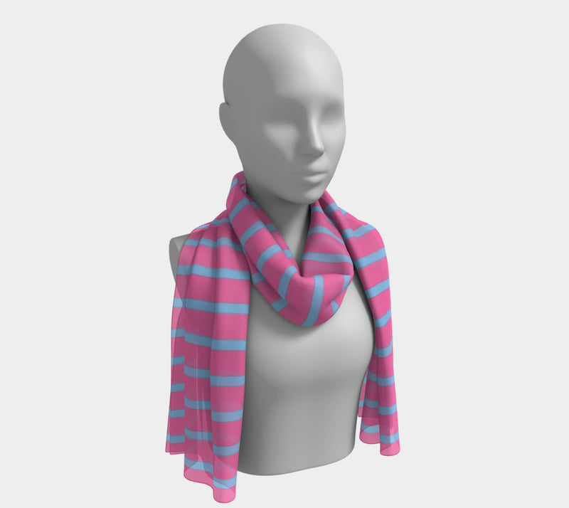 Striped Long Scarf - Light Blue on Pink - SummerTies