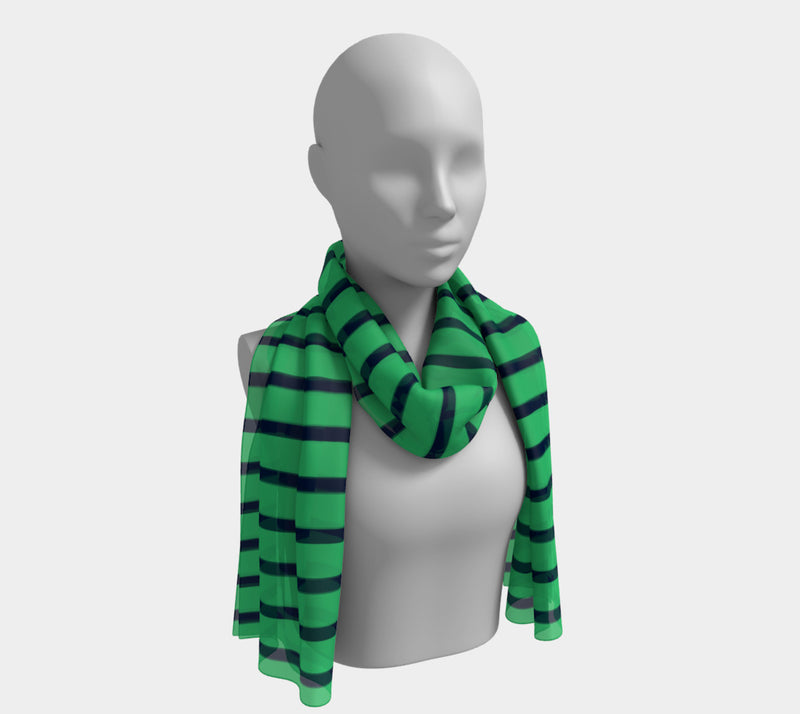Striped Long Scarf - Navy on Green