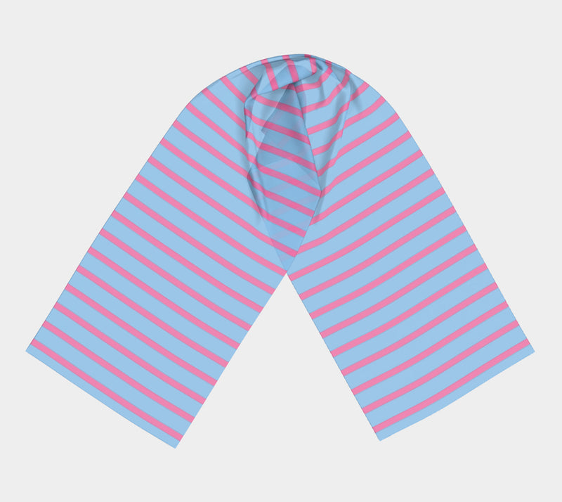 Striped Long Scarf - Pink on Light Blue - SummerTies