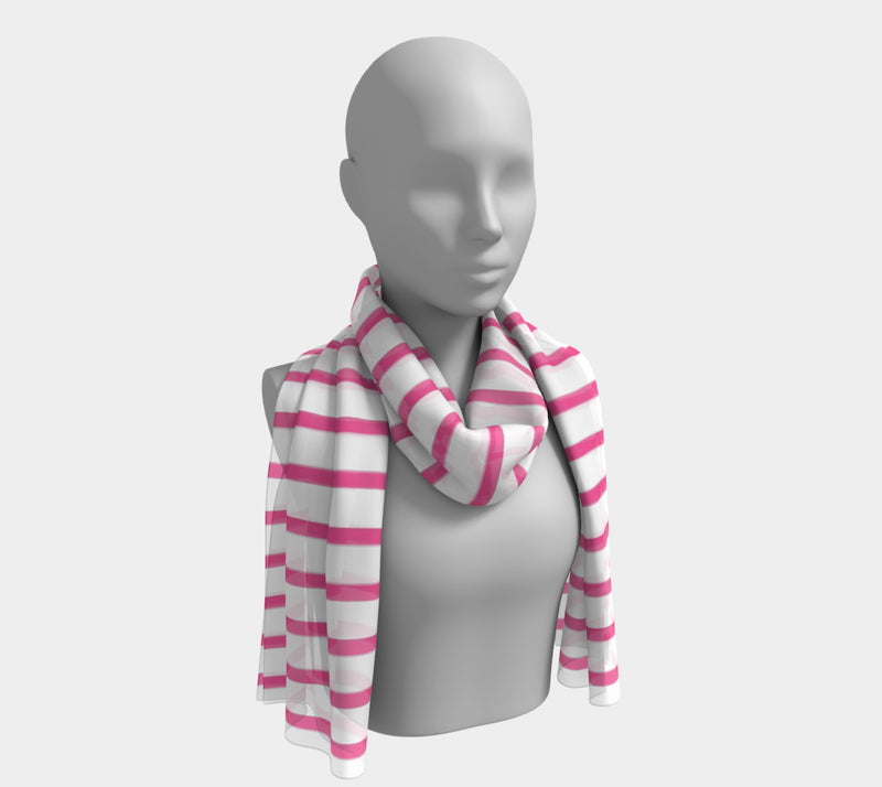 Striped Long Scarf - Pink on White - SummerTies